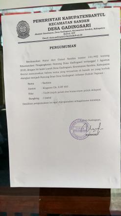 Pengumuman yang Berhak diangkat menjadi Calon Pamong Desa Jabatan Dukuh Tegesan