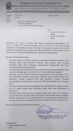 Pengumuman Layanan Legalisir Fotokopi dan Layanan Penerbitan KK